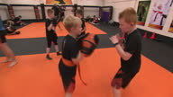 Interior shots of people taking part in Mixed Martial arts training class on 25th August 2017 Kidderminster England