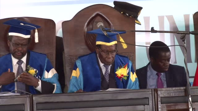 Interior shots of President Robert Mugabe attending a graduation ceremony at Zimbabwe Open University his first public appearance since an apparent...