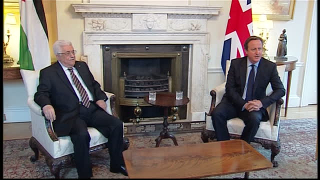 Interior shots of Prime Minister David cameron greeting Palestinian President Mahmoud Abbas at Number 10 Downing |Street mahmoud Abbas is on an...