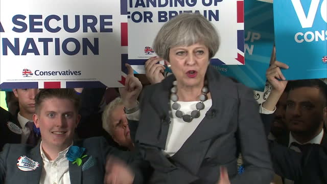 Interior shots of Prime Minister Theresa May addressing supporters at a campaign rally in StokeonTrent emphasising that only a Conservative...