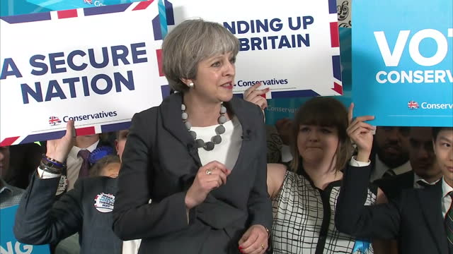 Interior shots of Prime Minister Theresa May addressing supporters at a campaign rally in StokeonTrent emphasising that 'Brexit is the basis of...