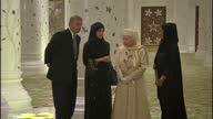 Interior shots of Prince Andrew Prince Philip and Queen Elizabeth II at the Sheikh Zayed Mosque as part of an official visit on November 24 2010 in...