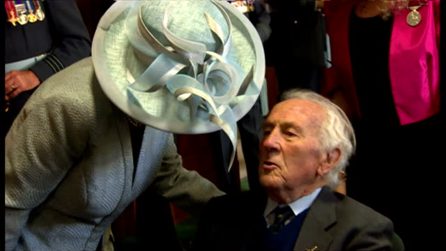 Interior shots of Prince Charles and Camilla Duchess of Cambridge meeting WWII Veterans at a Thanks Giving Ceremony at Westminster Abbey on September...