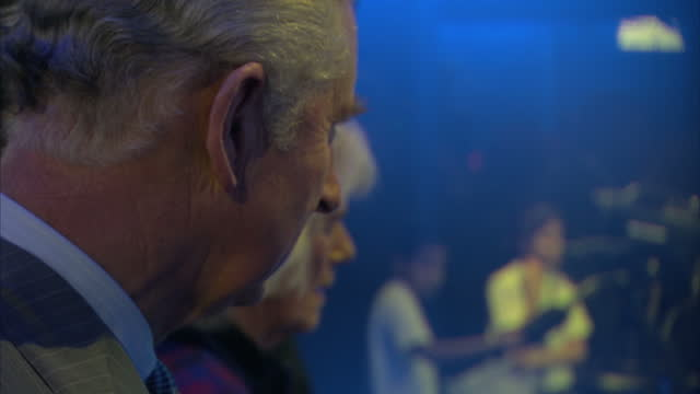Interior shots of Prince Charles and Camilla Duchess of Cornwall visiting the Sky Academy studios and meeting Sky News presenters Eamonn Holmes and...
