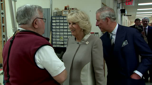 Interior shots of Prince Charles and Camilla Duchess of Cornwall visiting the woodworking shop during a tour of the Scott Building at the Armed...