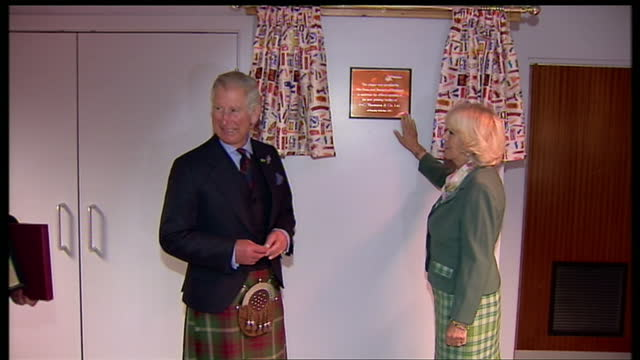 Interior shots of Prince Charles and Camilla Duchess of Cornwall revealing plaque commemorating Duke and Duchess of Rothesay visit Charles and...