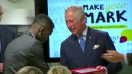 interior shots of Prince Charles presenting various employees with awards during a Prince's Trust 'Make Your Mark' Visit to retailer Marks Spencer on...