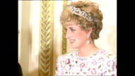 Interior shots of Prince Charles Prince of Wales and Princess Diana Princess of Wales greeting guests at banquet with South Korean President Roh Tae...