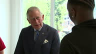 interior shots of Prince Charles speaking to young person with Ant Dec next to him during his visit to the Prince's Trust Morgan Stanley Centre on...