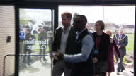 Interior shots of Prince Harry arriving at Hamilton Community College to visit the Yes You Can project and being greeted by college staff on March 21...