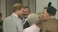 Interior shots of Prince Harry greeting staff and officials as he arrives to open a new ambulance station in Ballymena on September 07 2017 in...