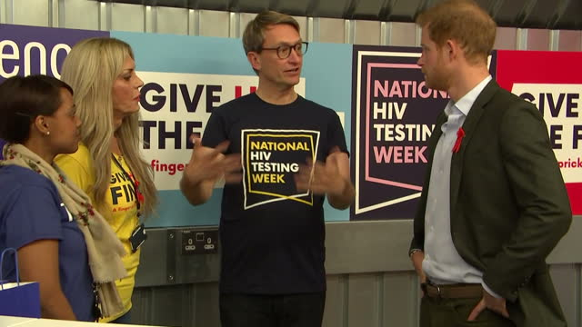 Interior shots of Prince Harry meeting charity workers involved with National HIV Testing Week during a visit to the Terrence Higgins Trust HIV...