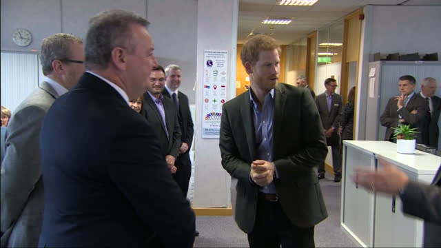 Interior shots of Prince Harry meeting officials on a visit to the Veterans UK charity on 23 October 2017 in Norcross United Kingdom