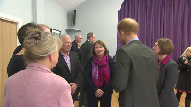 Interior shots of Prince Harry meeting people at the reopening of the village hall on 23 October 2017 in St Michael's on Wyre United Kingdom