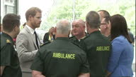 Interior shots of Prince Harry meeting staff including paramedics during a visit to open a new ambulance station in Ballymena on September 07 2017 in...