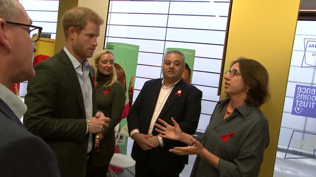 Interior shots of Prince Harry speaking to officials before departing from the Terrence Higgins Trust HIV testing popup shop on November 15 2017 in...