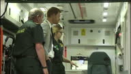 Interior shots of Prince Harry speaking to paramedics and looking at equipment including an ambulance on September 07 2017 in Ballymena Northern...