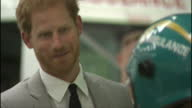 Interior shots of Prince Harry speaking to paramedics and viewing ambulances during a visit to open a new ambulance station in Ballymena on September...