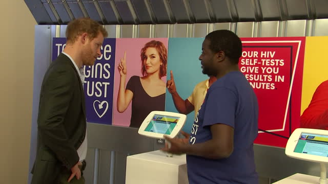 Interior shots of Prince Harry visiting the Terrence Higgins Trust HIV testing popup shop in Hackney and listening to an explanation of how the popup...