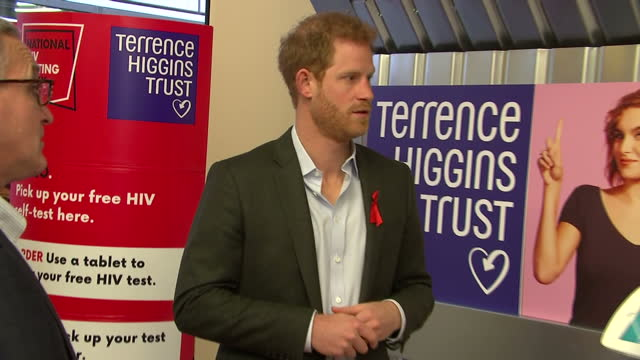 Interior shots of Prince Harry visiting the Terrence Higgins Trust HIV testing popup shop in Hackney and speaking to staff about how the service...