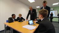Interior shots of Prince Philip Duke of Edinburgh meeting pupils in a lesson at Holyport College>> on November 28 2014 in Maidenhead United Kingdom