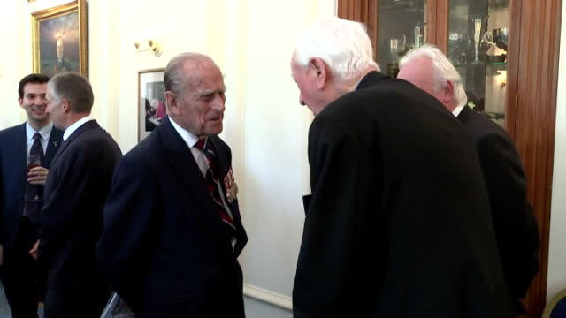 Interior shots of Prince Philip speaking to guests at RAF Club during event to mark the 75th anniversary of the Battle of Britain on July 10 2015 in...