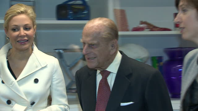 Interior shots of Prince Philip touring the new Design Museum and being shown designs made by a group of schoolgirls on November 14 2016 in London...