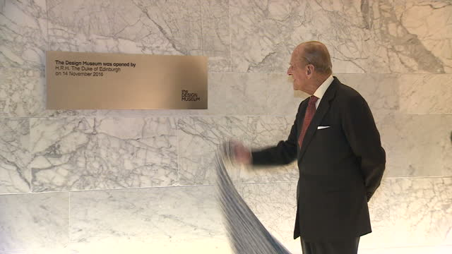 Interior shots of Prince Philip unveiling a plaque to mark the official opening of the Design Museum on November 14 2016 in London England