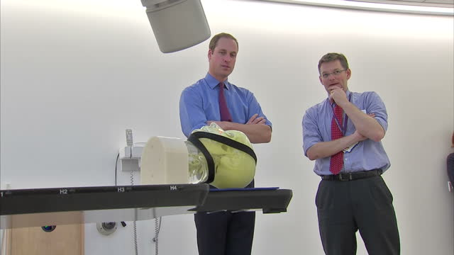 Interior shots of Prince Willia Duke of Cambridge watching a demonstration of a Cyberknife radiotherapy unit at the Royal Marsden Hospital Prince...