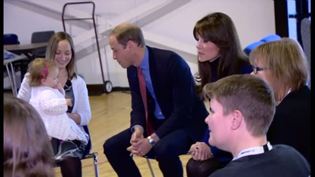 Interior shots of Prince William and Catherine Duchess of Cambridge meeting families taking part in Family Fun Day at the Dundee Repertory Theatre on...