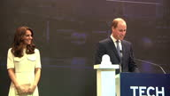Interior shots of Prince William and Catherine Duchess of Cambridge walking onto a podium William making a speech at the Tech Rocketship awards an...