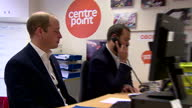 Interior shots of Prince William Duke of Cambridge meeting Centrepoint charity officials and staff taking part in training session for helpline...