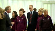 interior shots of Prince William Duke of Cambridge meeting the England Women's Football Team at St Georges Park on May 20 2015 in BurtonuponTrent...