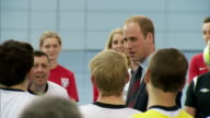 interior shots of Prince William Duke of Cambridge talking to members of the FA Homeless Charity members at St Georges Park on May 20 2015 in...