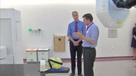 Interior shots of Prince William Duke of Cambridge viewing a specialist radiotherapy suite at the Royal Marsden Hospital Prince William Visits Royal...