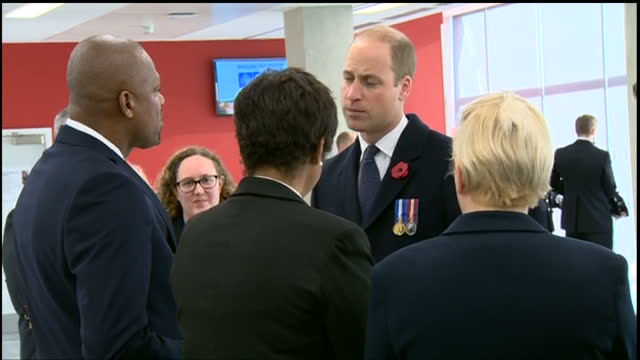 Interior shots of Prince William speaking with officials after attending the Metropolitan Police Service Passing Out Parade on November 03 2017 in...