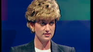 Interior shots of Princess Diana giving a speech on drug misuse at the European Drugs Conference Famous quotes include 'giving children the affection...