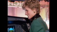 Interior shots of Princess Diana Princess of Wales and sir Richard Branson in cockpit of new Virgin Airbus on 6 December 1993 London England