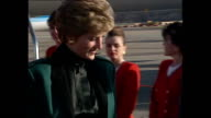 Interior shots of Princess Diana Princess of Wales departing the new Virgin Airbus after tour with Sir Richard Branson and getting onto helicopter on...