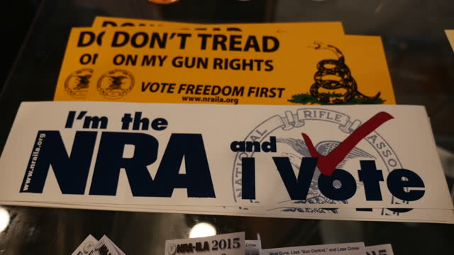 Interior shots of pro gun lobby badges in a Virginia gun shop 'I'm the NRA and I vote' and 'Don't tread on my gun rights' on October 09 2015 in...