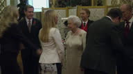 Interior shots of Queen Elizabeth II and Prince Philip greeting guests at the The Queen Elizabeth Prize for Engineering Foundation event at...