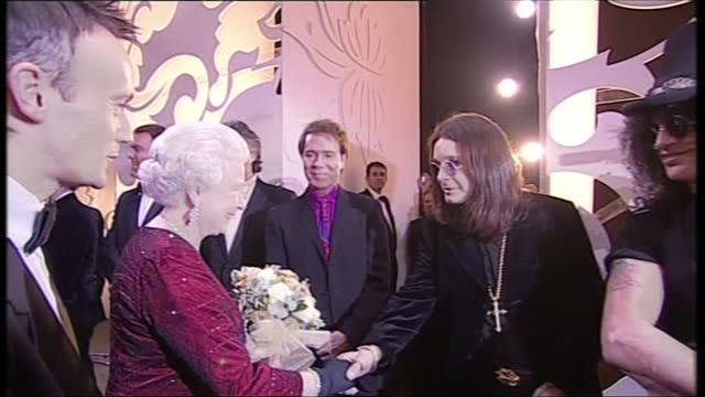 Interior shots of Queen Elizabeth II and Prince Philip meeting performers backstage at the Royal Variety Performance show Performers include Bradley...