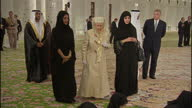 Interior shots of Queen Elizabeth II arriving at the Sheikh Zayed Mosque and watches as girls read from the Quaran on November 24 2010 in Abu Dhabi...