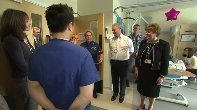 Interior shots of Queen Elizabeth II visiting Manchester terror attack victims in the Royal Manchester Children's Hospital on 25th May 2017...