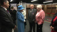 Interior shots of Queen Elizabeth meeting exservicemen from the Royal Welsh regiment and their relatives at the Millennium Stadium>> on June 11 2015...