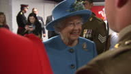 Interior shots of Queen Elizabeth meeting personnel from the Royal Welsh regiment and their families>> on June 11 2015 in Cardiff Wales