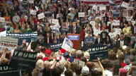 Interior shots of Republican candidate Donald Trump speaking at a campaign rally and crowds of supporters listening and cheering>> on March 07 2016...