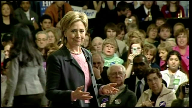 Interior shots of Republican presidential hopeful Hillary Clinton walking onto stage at a rally in Iowa on January 27 2007 in Des Moines Iowa