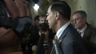 Interior shots of Republican US Representative Darrell Issa speaking to press about reaching a deal on raising the nation's debt ceiling at Capitol...