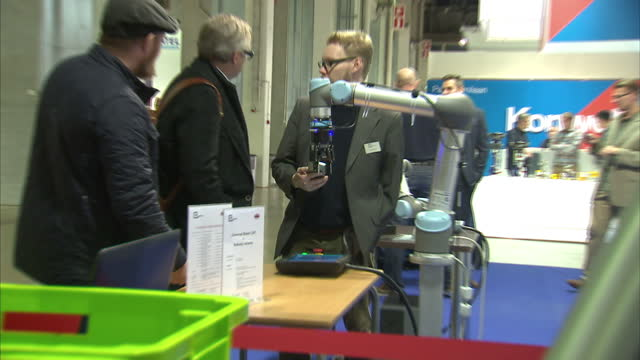 Interior shots of robotic equipment on display at the Robosteam International Artificial Intelligence and Robotics Expo on October 12 2017 in...